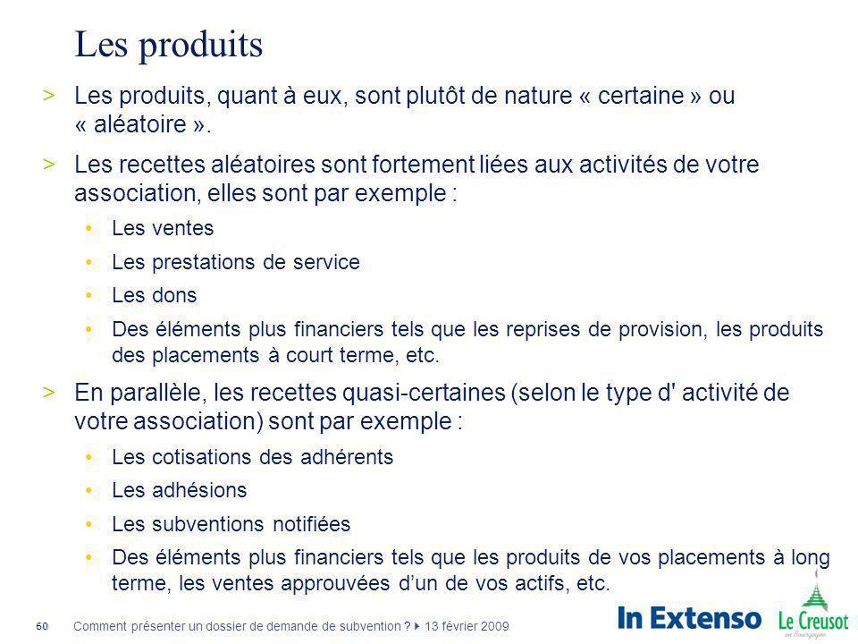 60 Comment présenter un dossier de demande de subvention ? 13 février 2009 Les produits >Les produits, quant à eux, sont plutôt de nature « certaine »