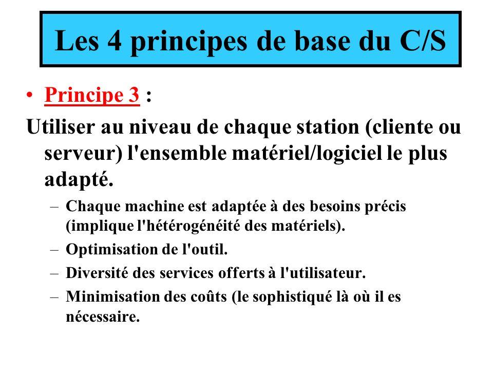 Les 4 principes de base du C/S Principe 3 : Utiliser au niveau de chaque station (cliente ou serveur) l ensemble matériel/logiciel le plus adapté.