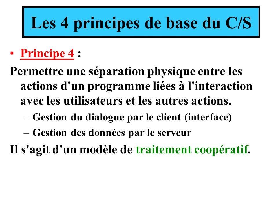 Les 4 principes de base du C/S Principe 4 : Permettre une séparation physique entre les actions d'un programme liées à l'interaction avec les utilisat