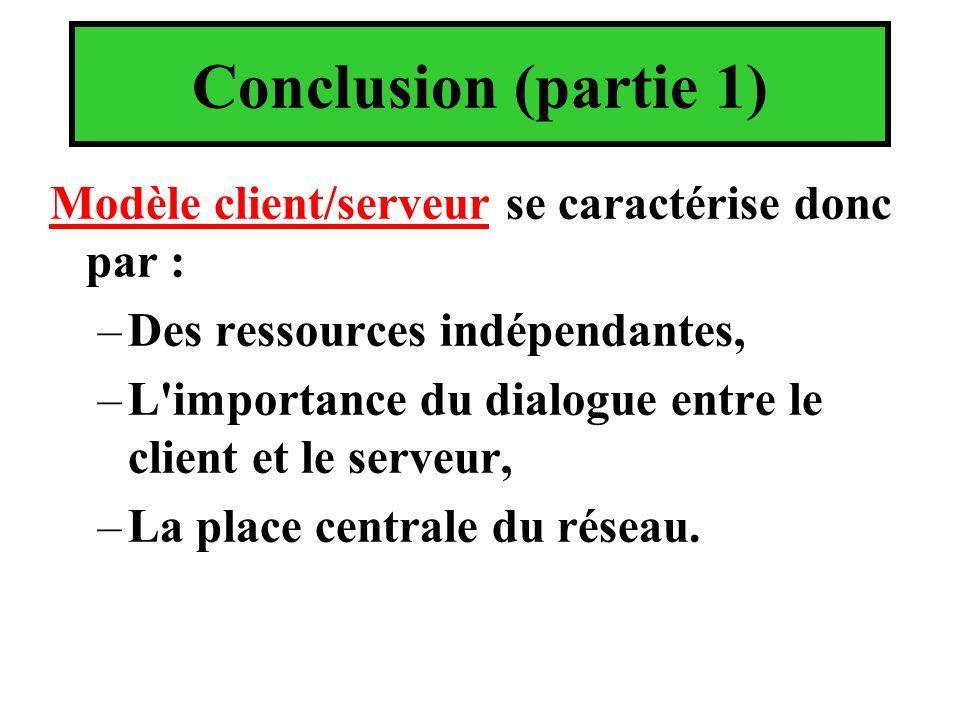 Conclusion (partie 1) Modèle client/serveur se caractérise donc par : –Des ressources indépendantes, –L'importance du dialogue entre le client et le s