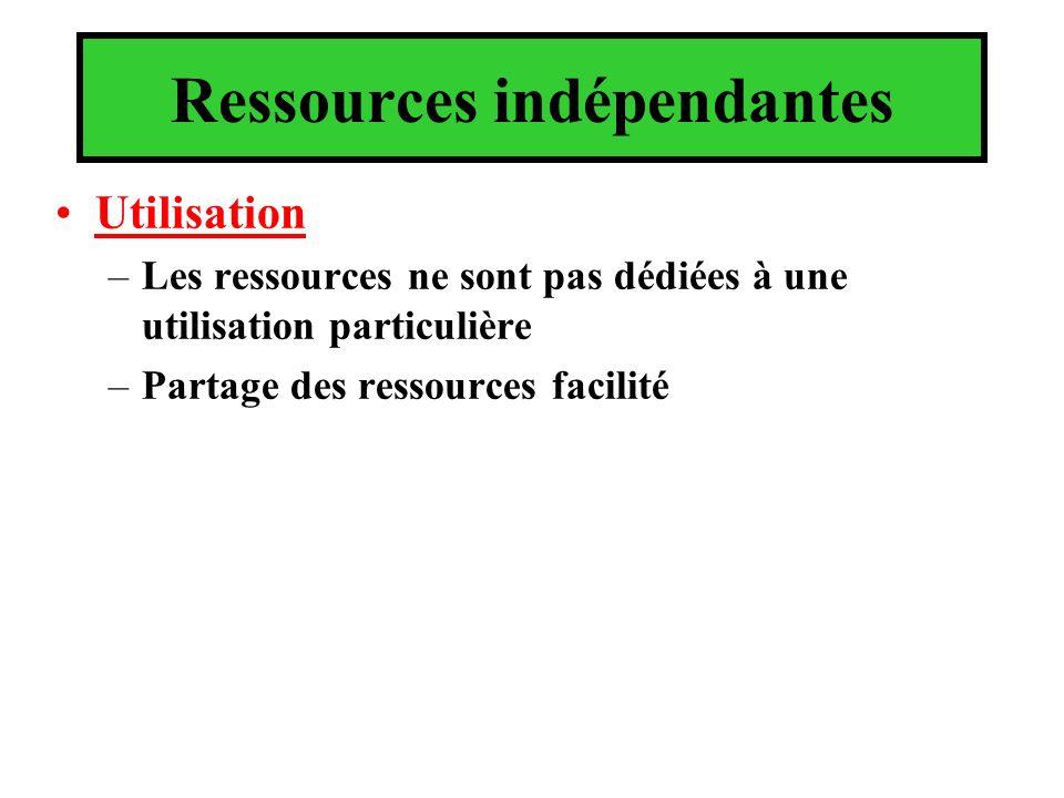 Ressources indépendantes Utilisation –Les ressources ne sont pas dédiées à une utilisation particulière –Partage des ressources facilité