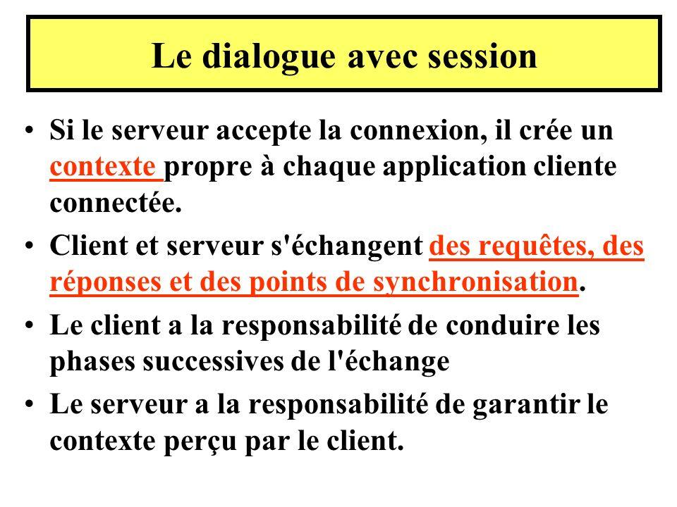Si le serveur accepte la connexion, il crée un contexte propre à chaque application cliente connectée. Client et serveur s'échangent des requêtes, des