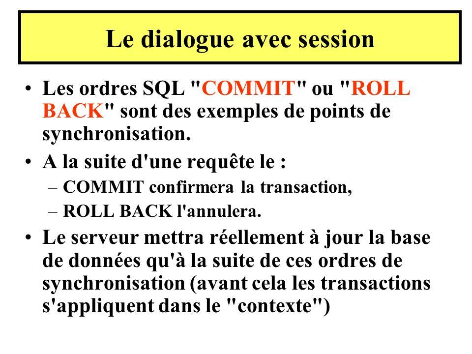 Les ordres SQL COMMIT ou ROLL BACK sont des exemples de points de synchronisation.