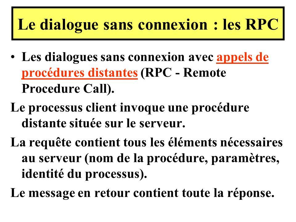 Les dialogues sans connexion avec appels de procédures distantes (RPC - Remote Procedure Call). Le processus client invoque une procédure distante sit