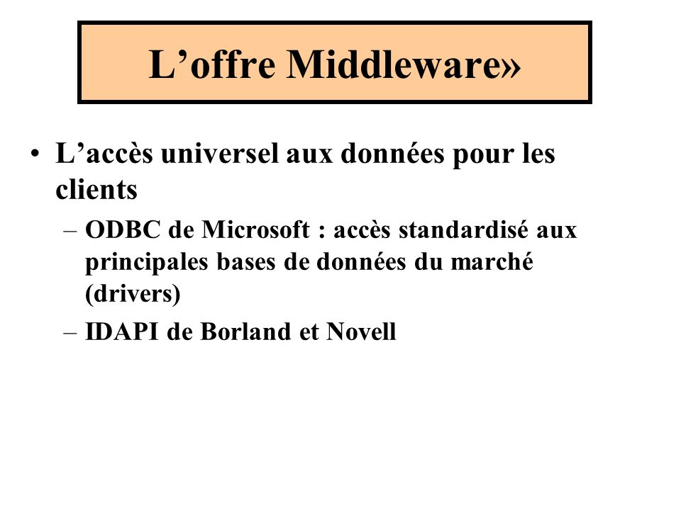 Laccès universel aux données pour les clients –ODBC de Microsoft : accès standardisé aux principales bases de données du marché (drivers) –IDAPI de Borland et Novell Loffre Middleware»