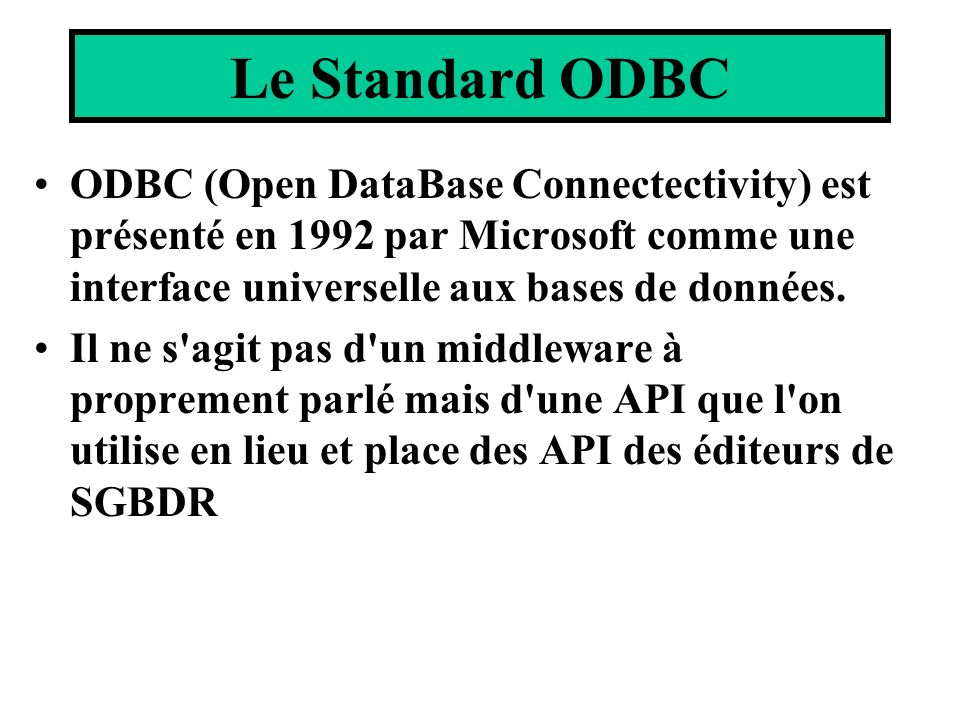 ODBC (Open DataBase Connectectivity) est présenté en 1992 par Microsoft comme une interface universelle aux bases de données. Il ne s'agit pas d'un mi
