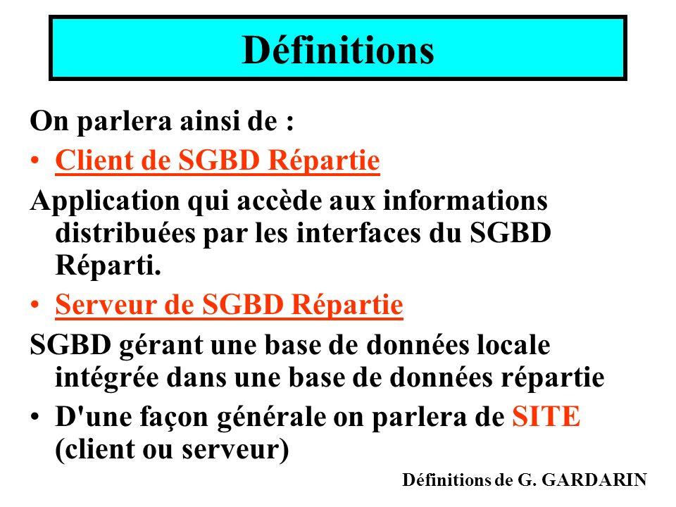 Définitions On parlera ainsi de : Client de SGBD Répartie Application qui accède aux informations distribuées par les interfaces du SGBD Réparti. Serv