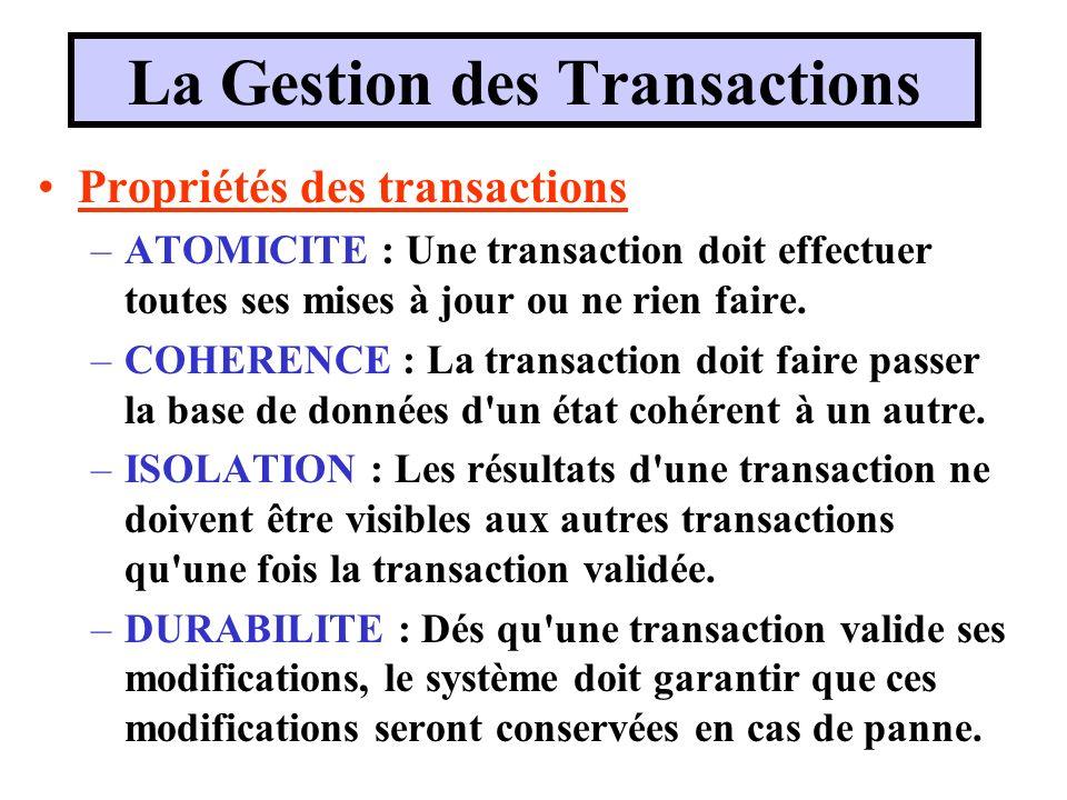 La Gestion des Transactions Propriétés des transactions –ATOMICITE : Une transaction doit effectuer toutes ses mises à jour ou ne rien faire. –COHEREN