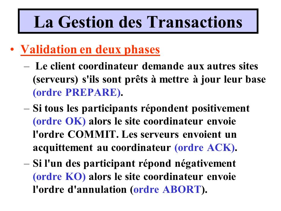 La Gestion des Transactions Validation en deux phases – Le client coordinateur demande aux autres sites (serveurs) s'ils sont prêts à mettre à jour le