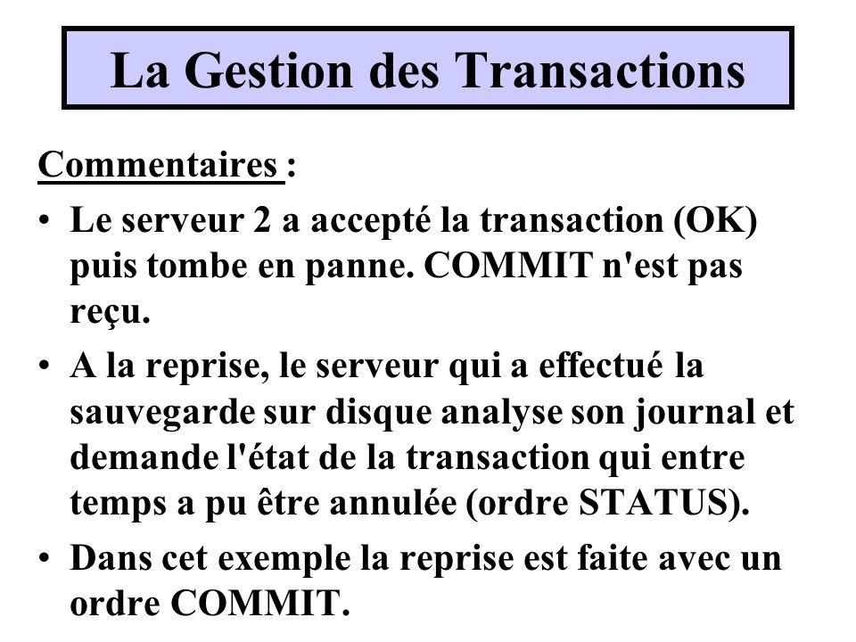 Commentaires : Le serveur 2 a accepté la transaction (OK) puis tombe en panne. COMMIT n'est pas reçu. A la reprise, le serveur qui a effectué la sauve