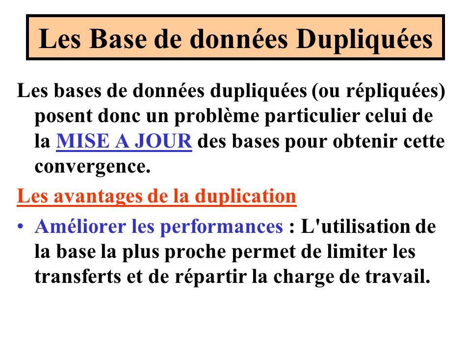Les Base de données Dupliquées Les bases de données dupliquées (ou répliquées) posent donc un problème particulier celui de la MISE A JOUR des bases pour obtenir cette convergence.