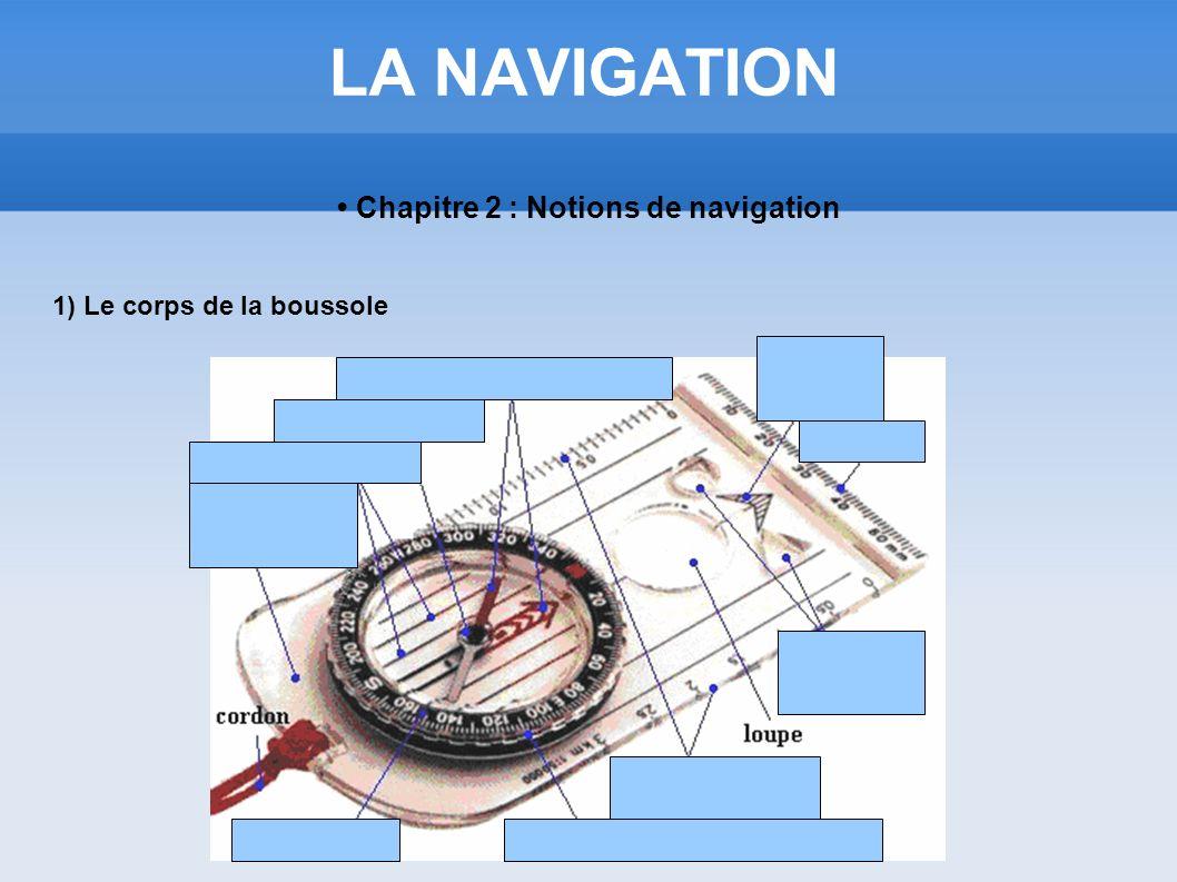 LA NAVIGATION Chapitre 2 : Notions de navigation 1) Le corps de la boussole
