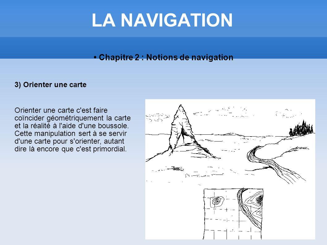 LA NAVIGATION Chapitre 2 : Notions de navigation 3) Orienter une carte Orienter une carte c'est faire coïncider géométriquement la carte et la réalité