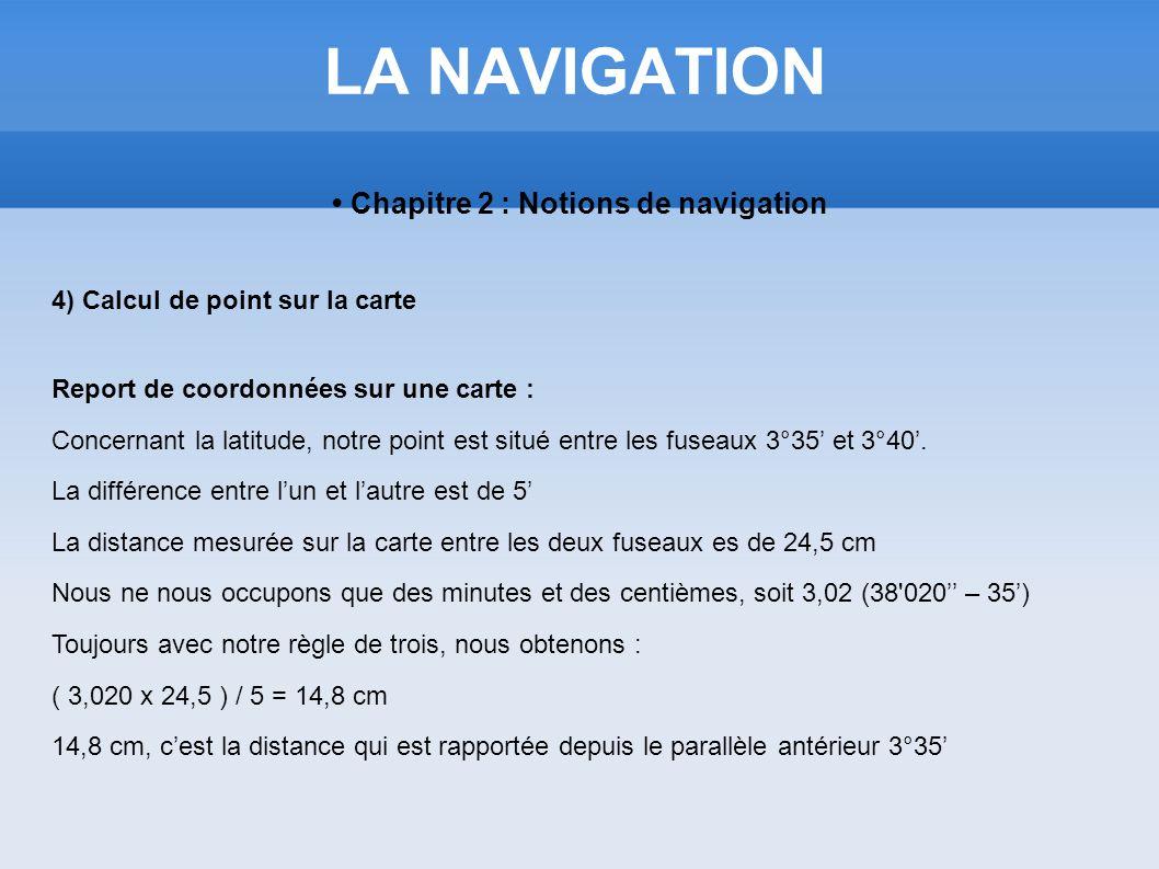 LA NAVIGATION Chapitre 2 : Notions de navigation 4) Calcul de point sur la carte Report de coordonnées sur une carte : Concernant la latitude, notre p