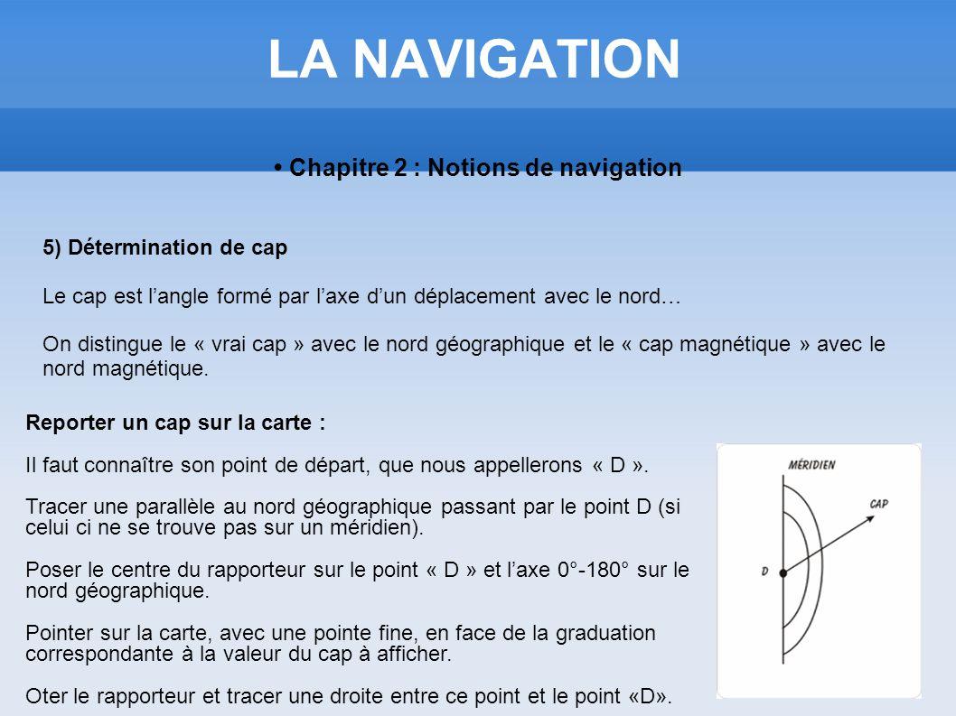 LA NAVIGATION Chapitre 2 : Notions de navigation 5) Détermination de cap Le cap est langle formé par laxe dun déplacement avec le nord… On distingue l