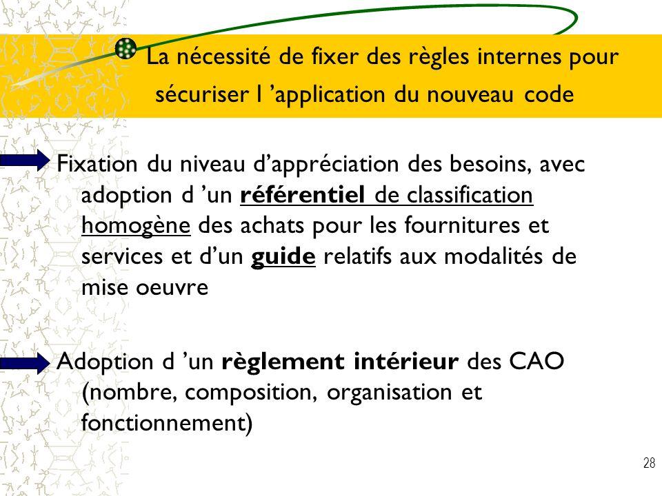 28 La nécessité de fixer des règles internes pour sécuriser l application du nouveau code Fixation du niveau dappréciation des besoins, avec adoption
