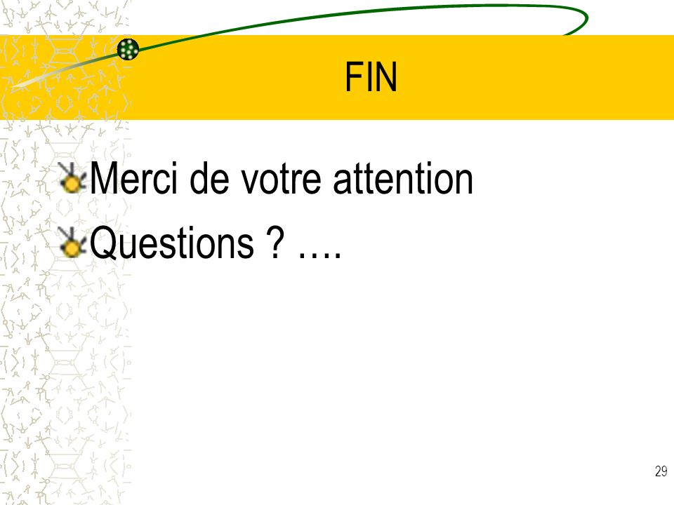 29 FIN Merci de votre attention Questions ? ….