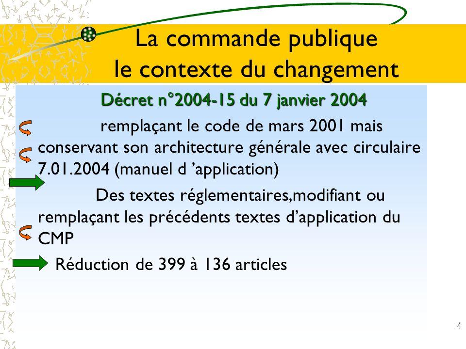 4 La commande publique le contexte du changement Décret n°2004-15 du 7 janvier 2004 Décret n°2004-15 du 7 janvier 2004 remplaçant le code de mars 2001