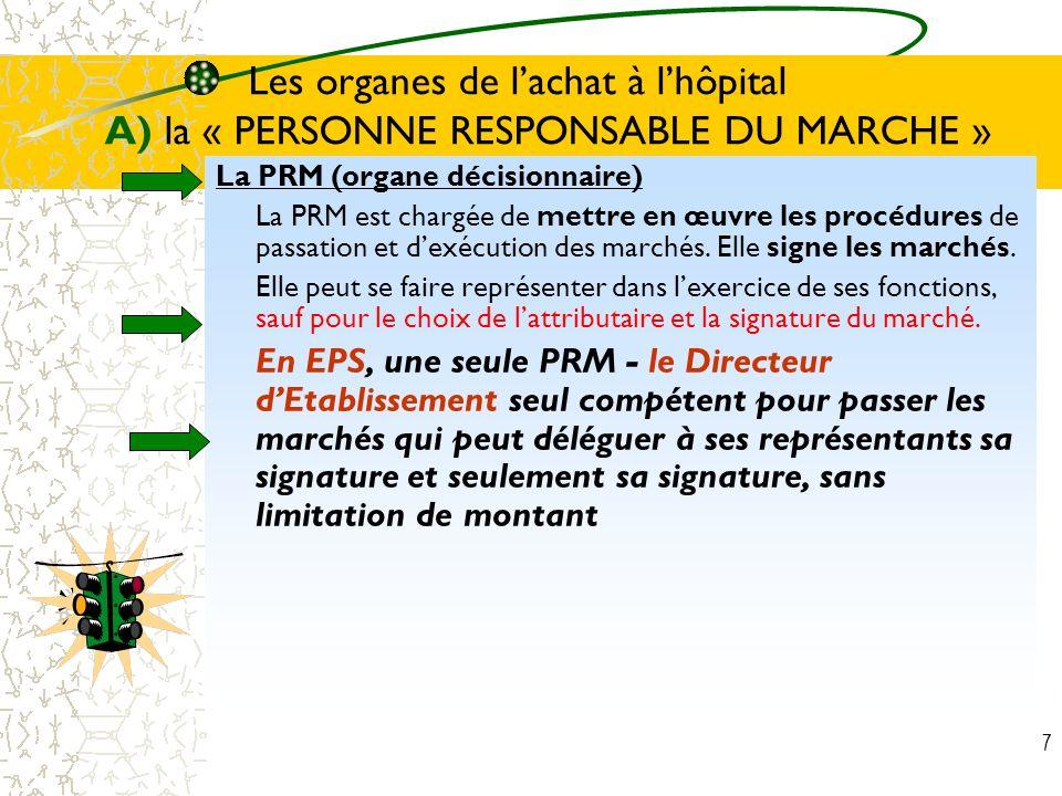 7 Les organes de lachat à lhôpital A) la « PERSONNE RESPONSABLE DU MARCHE » La PRM (organe décisionnaire) La PRM est chargée de mettre en œuvre les pr