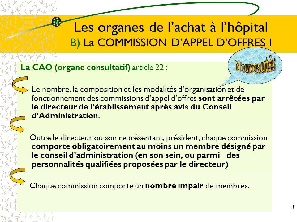 8 Les organes de lachat à lhôpital B) La COMMISSION DAPPEL DOFFRES I La CAO (organe consultatif) article 22 : Le nombre, la composition et les modalit