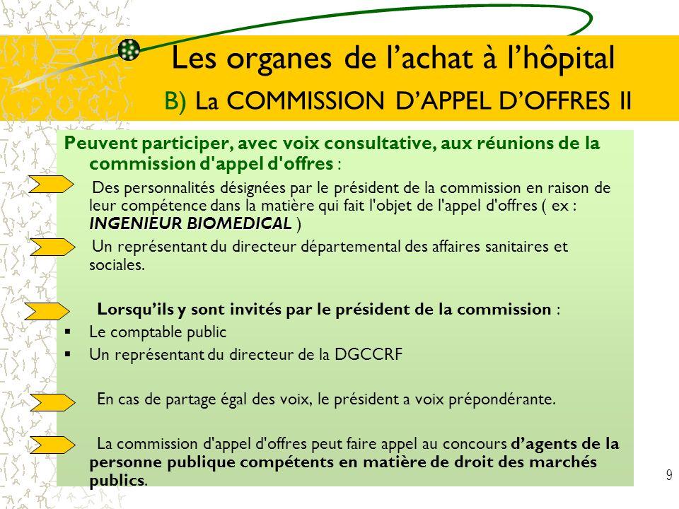 9 Les organes de lachat à lhôpital B) La COMMISSION DAPPEL DOFFRES II Peuvent participer, avec voix consultative, aux réunions de la commission d'appe