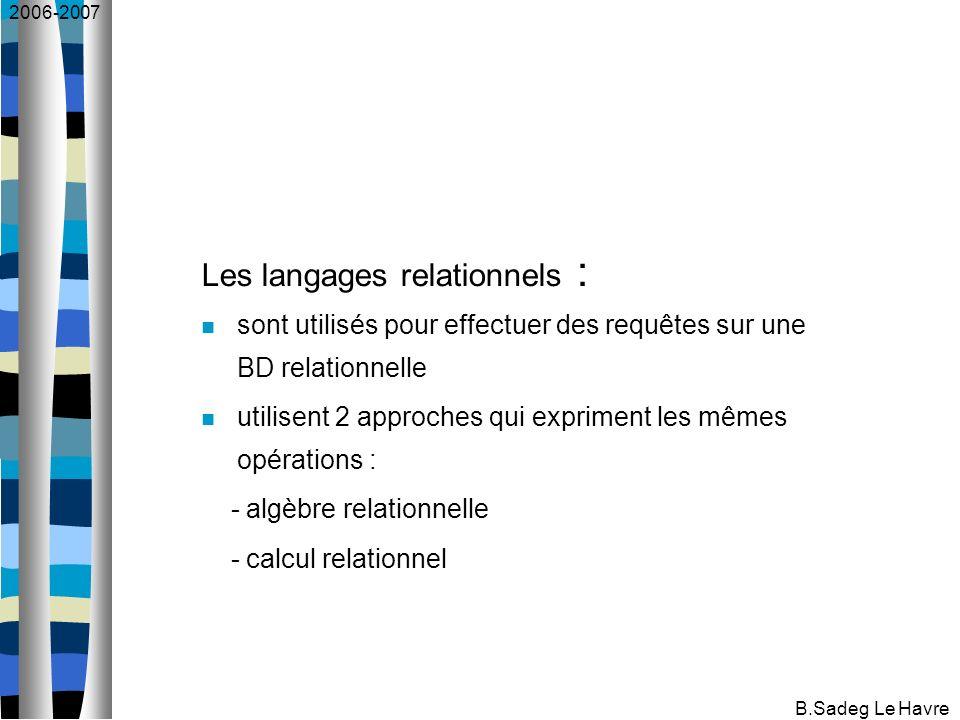 2006-2007 B.Sadeg Le Havre Les langages relationnels : sont utilisés pour effectuer des requêtes sur une BD relationnelle utilisent 2 approches qui expriment les mêmes opérations : - algèbre relationnelle - calcul relationnel