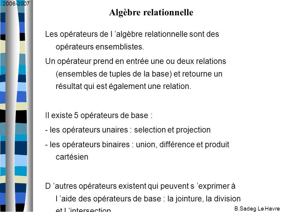 2006-2007 B.Sadeg Le Havre Les opérateurs de l algèbre relationnelle sont des opérateurs ensemblistes.