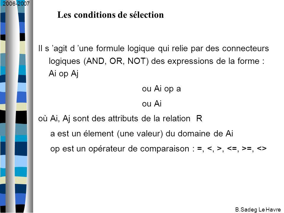 2006-2007 B.Sadeg Le Havre Il s agit d une formule logique qui relie par des connecteurs logiques (AND, OR, NOT) des expressions de la forme : Ai op Aj ou Ai op a ou Ai où Ai, Aj sont des attributs de la relation R a est un élement (une valeur) du domaine de Ai op est un opérateur de comparaison : =,, =, <> Les conditions de sélection