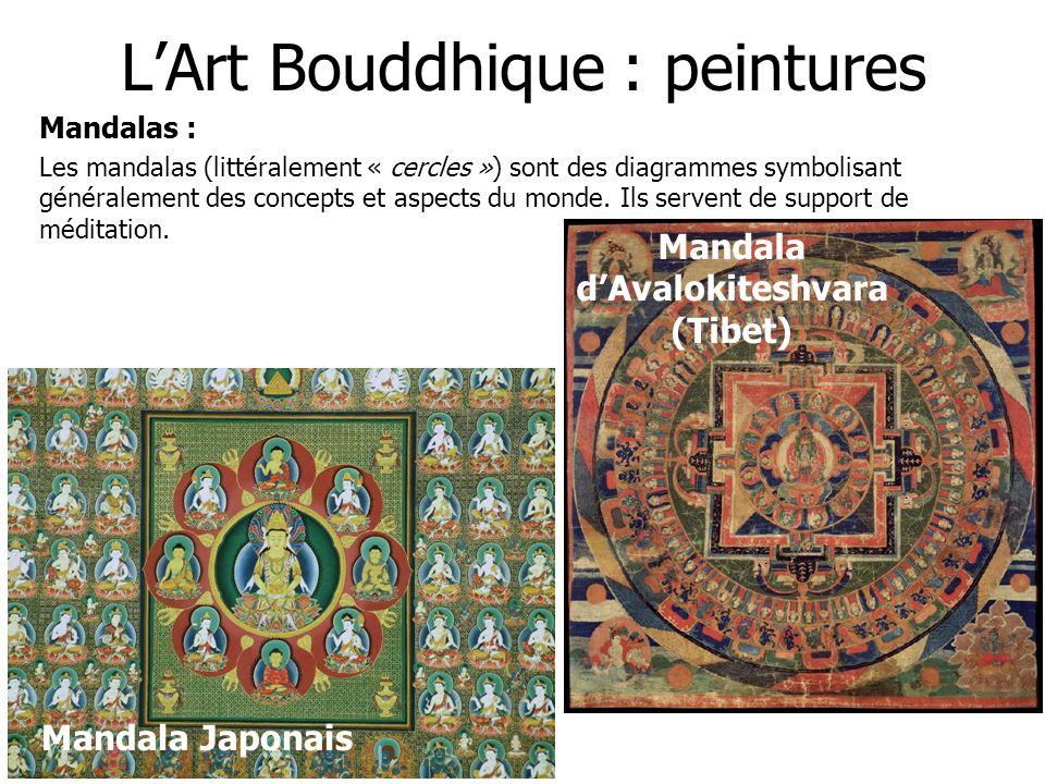 LArt Bouddhique : peintures Mandalas : Les mandalas (littéralement « cercles ») sont des diagrammes symbolisant généralement des concepts et aspects d