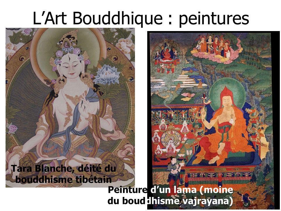 LArt Bouddhique : peintures Peinture dun lama (moine du bouddhisme vajrayana) Tara Blanche, déité du bouddhisme tibétain