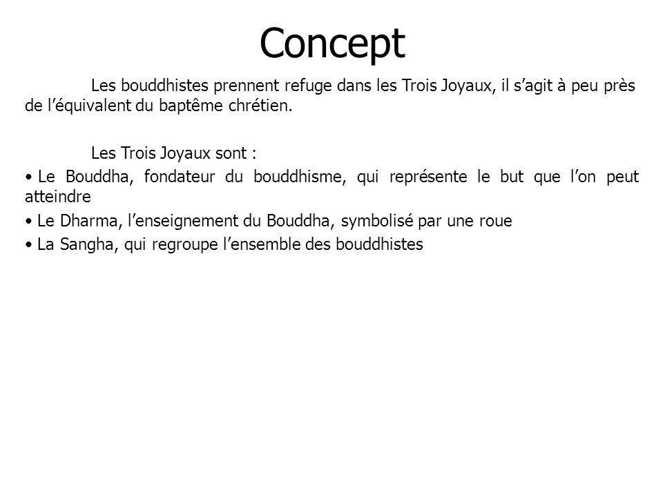 Concept Les bouddhistes prennent refuge dans les Trois Joyaux, il sagit à peu près de léquivalent du baptême chrétien. Les Trois Joyaux sont : Le Boud