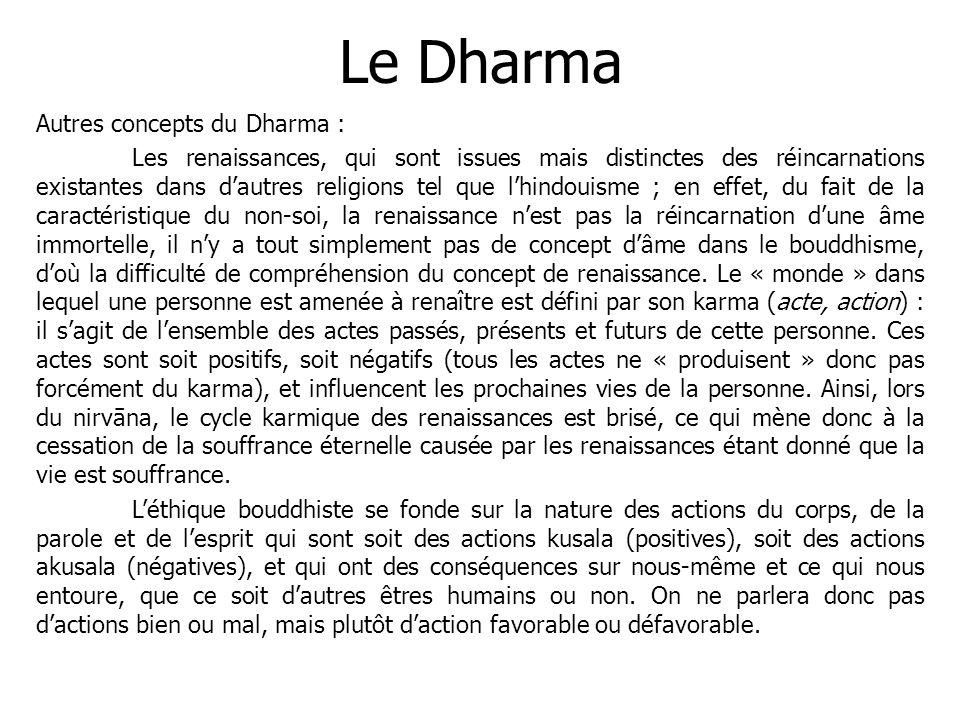 Le Dharma Autres concepts du Dharma : Les renaissances, qui sont issues mais distinctes des réincarnations existantes dans dautres religions tel que l