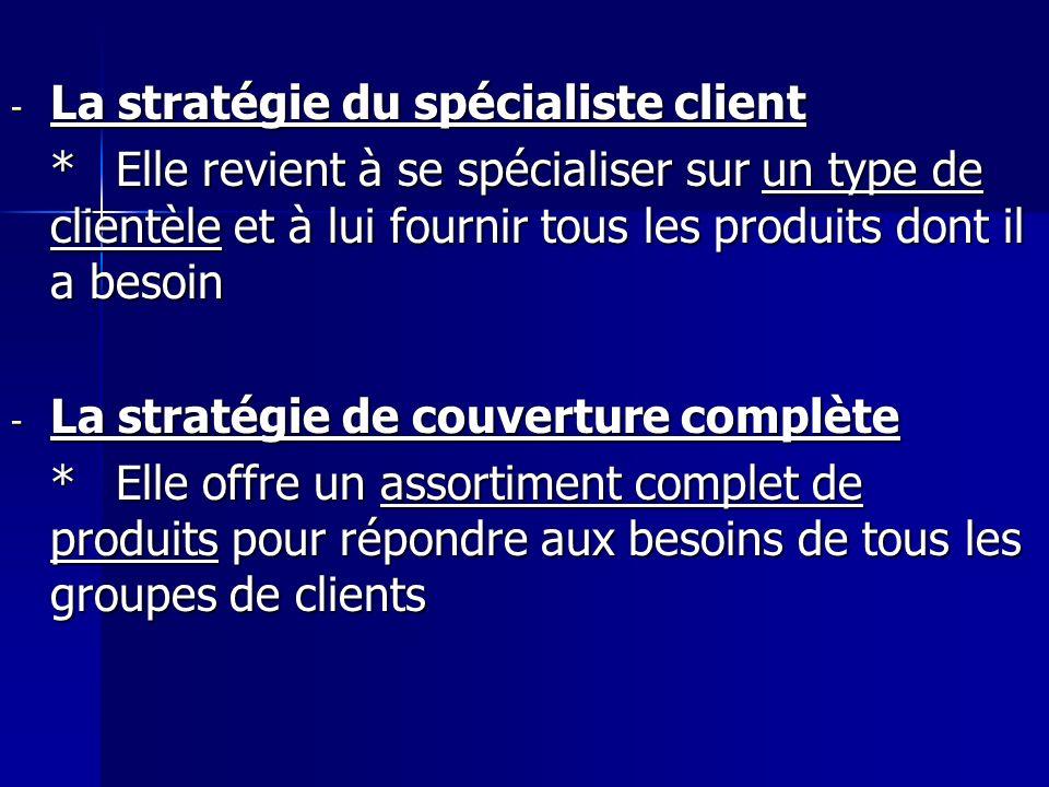 - La stratégie du spécialiste client *Elle revient à se spécialiser sur un type de clientèle et à lui fournir tous les produits dont il a besoin - La