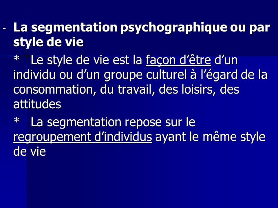 - La segmentation psychographique ou par style de vie *Le style de vie est la façon dêtre dun individu ou dun groupe culturel à légard de la consommat