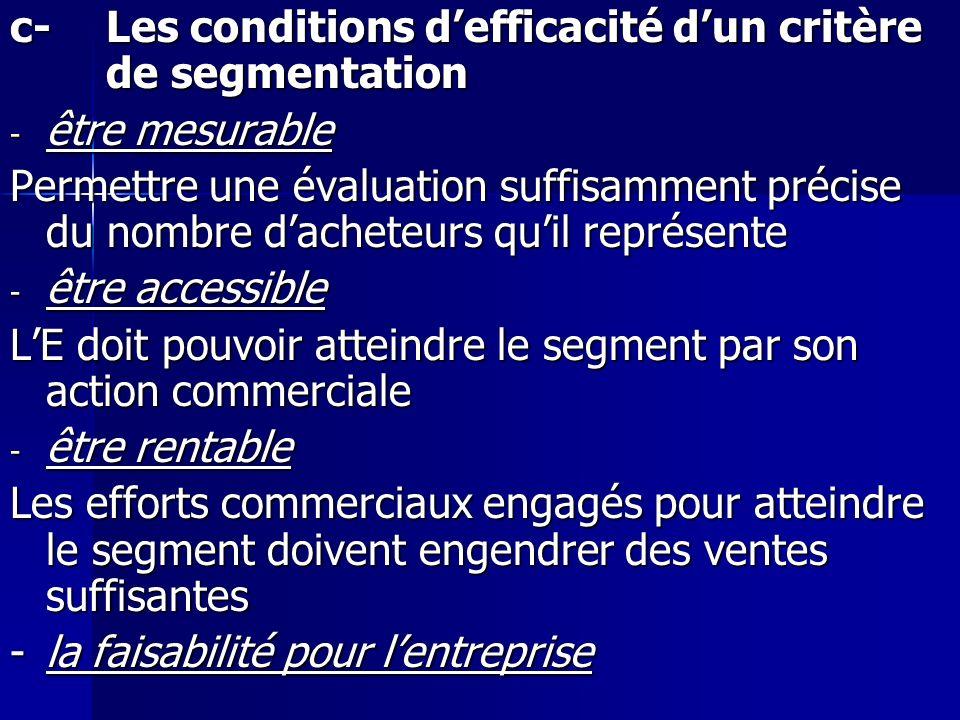 c-Les conditions defficacité dun critère de segmentation - être mesurable Permettre une évaluation suffisamment précise du nombre dacheteurs quil repr