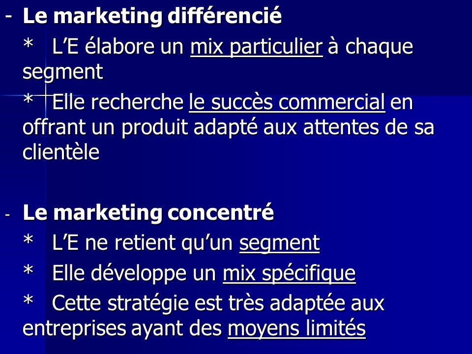 -Le marketing différencié *LE élabore un mix particulier à chaque segment *Elle recherche le succès commercial en offrant un produit adapté aux attent
