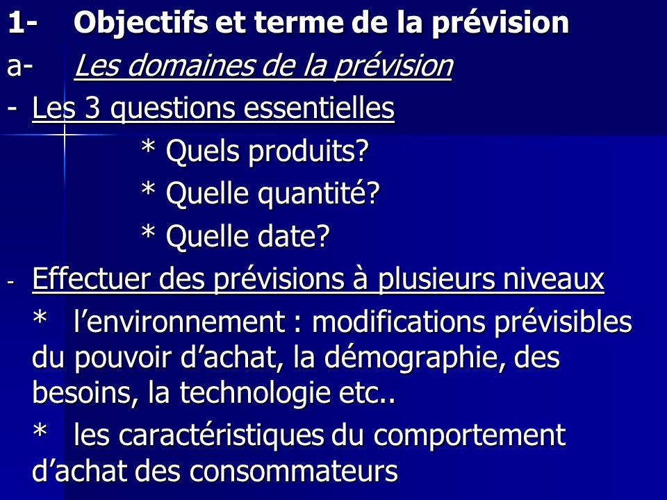 1-Objectifs et terme de la prévision a-Les domaines de la prévision -Les 3 questions essentielles * Quels produits? * Quelle quantité? * Quelle date?
