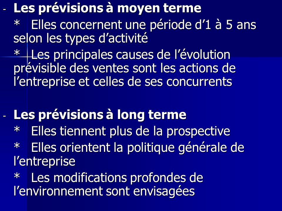 - Les prévisions à moyen terme *Elles concernent une période d1 à 5 ans selon les types dactivité *Les principales causes de lévolution prévisible des
