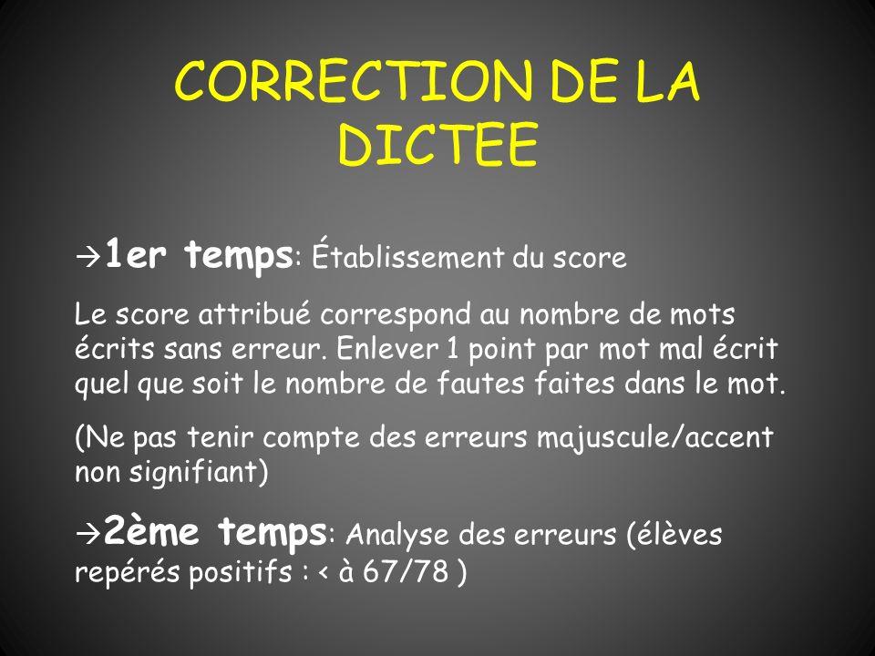 CORRECTION DE LA DICTEE 1er temps : Établissement du score Le score attribué correspond au nombre de mots écrits sans erreur. Enlever 1 point par mot