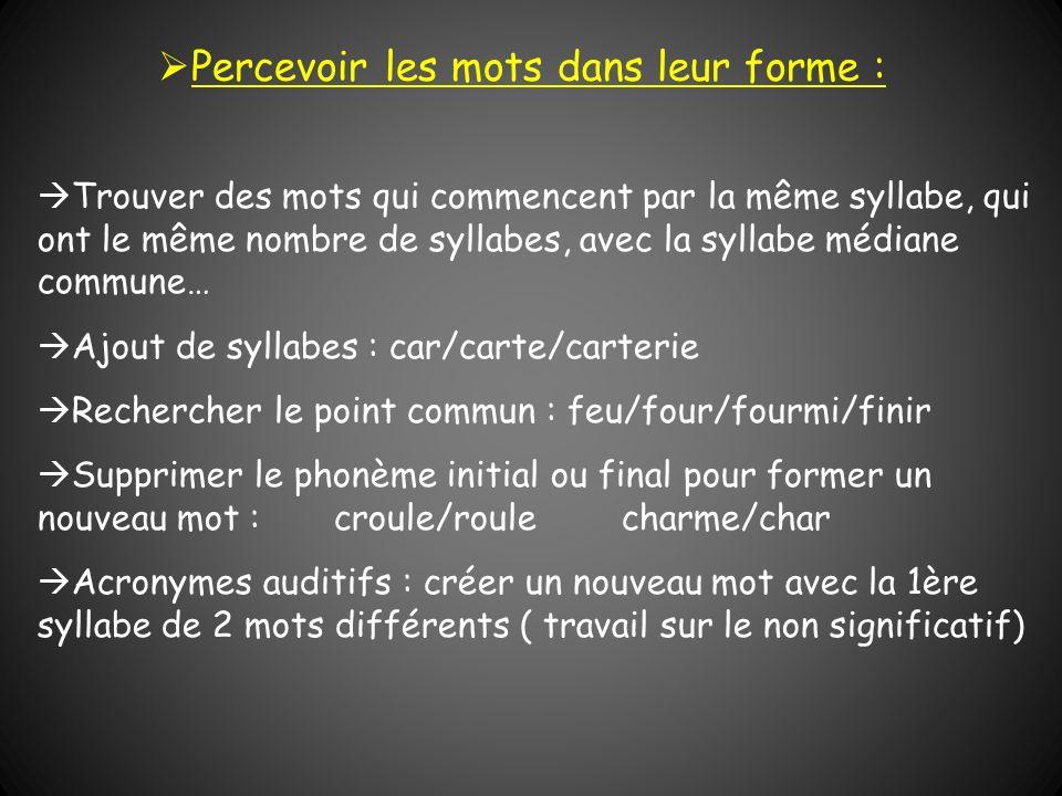 Trouver des mots qui commencent par la même syllabe, qui ont le même nombre de syllabes, avec la syllabe médiane commune… Ajout de syllabes : car/cart