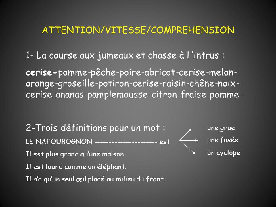 ATTENTION/VITESSE/COMPREHENSION 1- La course aux jumeaux et chasse à l intrus : cerise-pomme-pêche-poire-abricot-cerise-melon- orange-groseille-potiro