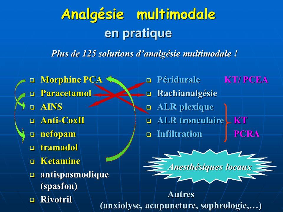 Analgésie multimodale Analgésie multimodale Morphine PCA Morphine PCA Paracetamol Paracetamol AINS AINS Anti-CoxII Anti-CoxII nefopam nefopam tramadol