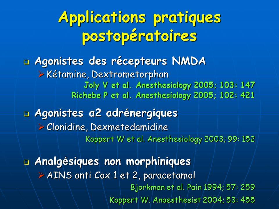Applications pratiques postopératoires Agonistes des récepteurs NMDA Agonistes des récepteurs NMDA Kétamine, Dextrometorphan Kétamine, Dextrometorphan
