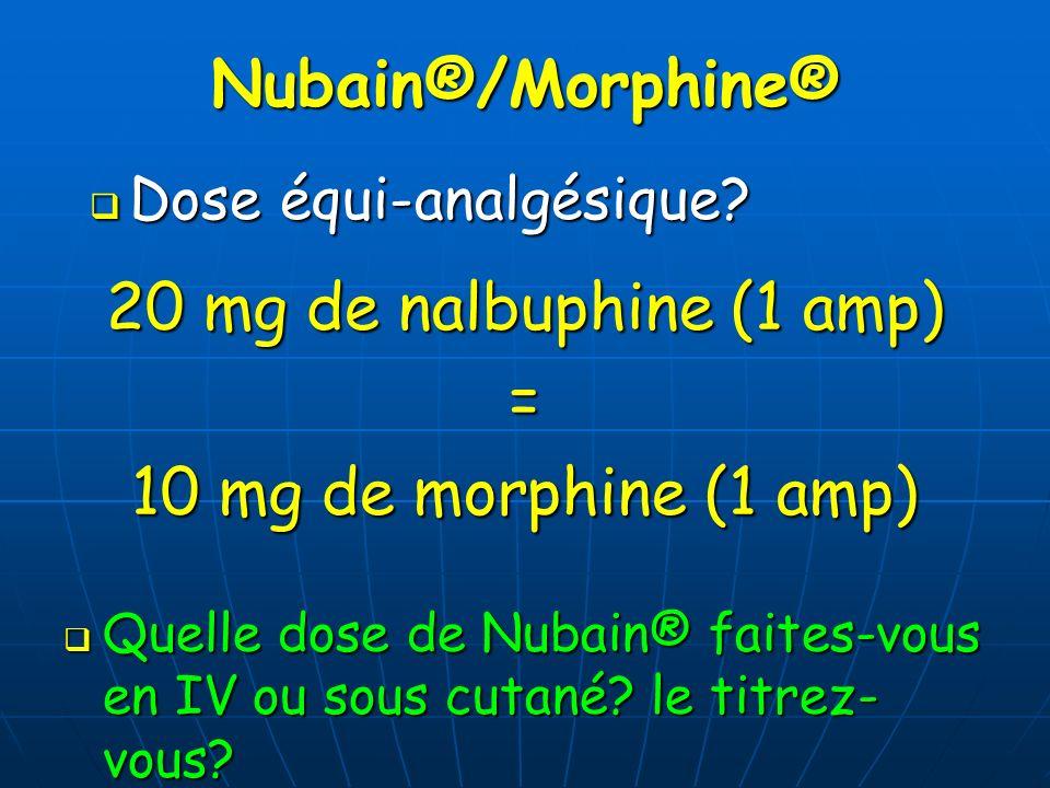 Nubain®/Morphine® Dose équi-analgésique? Dose équi-analgésique? 20 mg de nalbuphine (1 amp) = 10 mg de morphine (1 amp) Quelle dose de Nubain® faites-