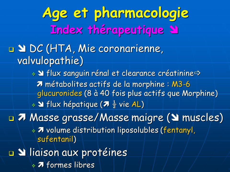 Age et pharmacologie DC (HTA, Mie coronarienne, valvulopathie) DC (HTA, Mie coronarienne, valvulopathie) flux sanguin rénal et clearance créatinine fl