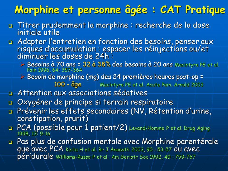 Morphine et personne âgée : CAT Pratique Titrer prudemment la morphine : recherche de la dose initiale utile Titrer prudemment la morphine : recherche