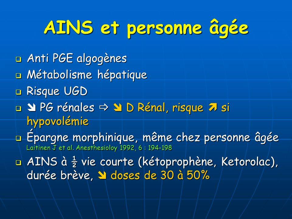 AINS et personne âgée Anti PGE algogènes Anti PGE algogènes Métabolisme hépatique Métabolisme hépatique Risque UGD Risque UGD PG rénales D Rénal, risq