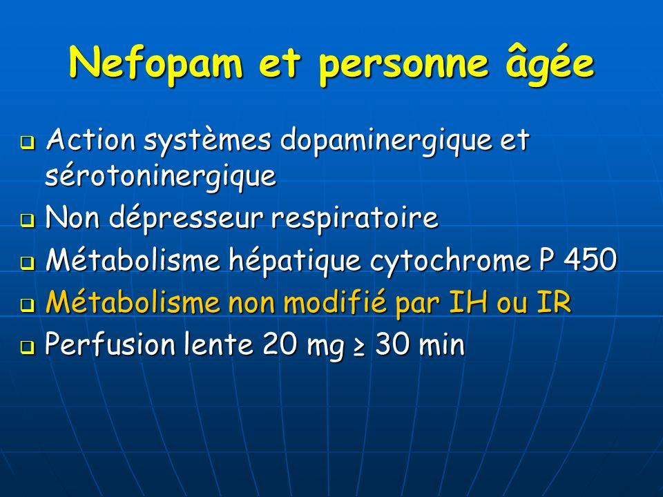 Nefopam et personne âgée Action systèmes dopaminergique et sérotoninergique Action systèmes dopaminergique et sérotoninergique Non dépresseur respirat