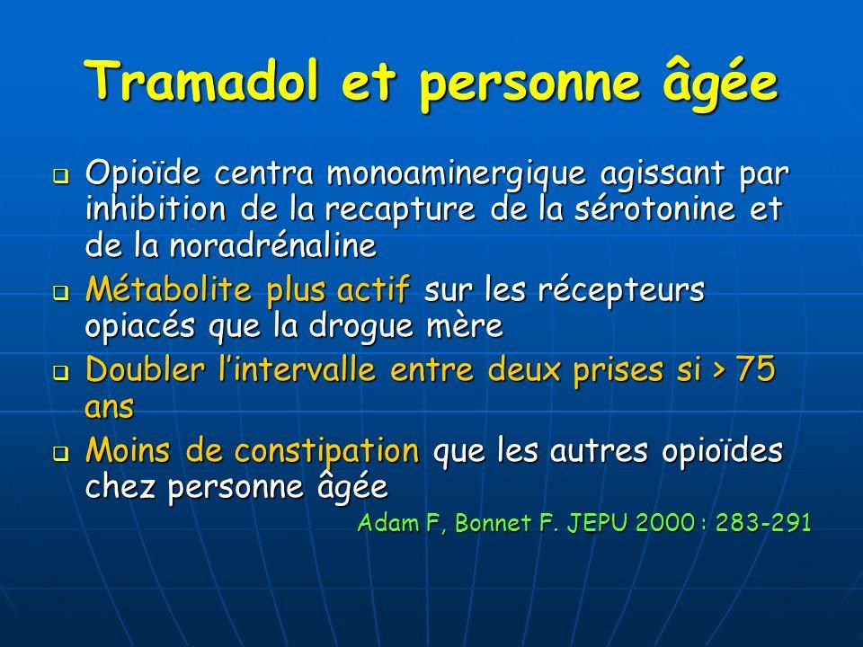 Tramadol et personne âgée Opioïde centra monoaminergique agissant par inhibition de la recapture de la sérotonine et de la noradrénaline Opioïde centr