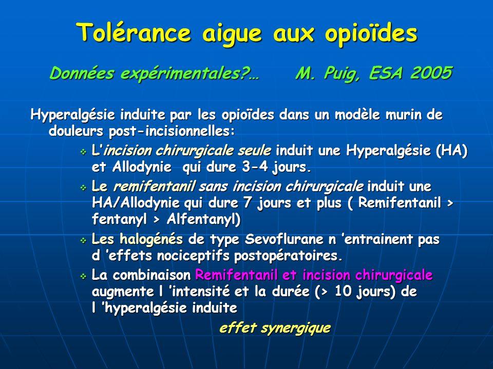 Données expérimentales?…M. Puig, ESA 2005 Hyperalgésie induite par les opioïdes dans un modèle murin de douleurs post-incisionnelles: Lincision chirur